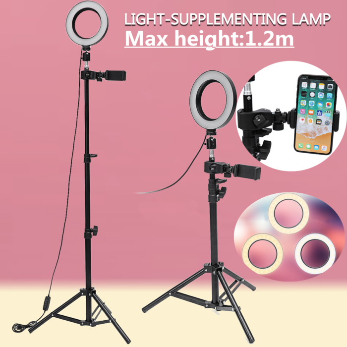 Dimmable LED Studio Camera Ring Light Makeup Photo Phone Video Lamp Selfie Stand USB Plug Tripod lamp Light with Phone H