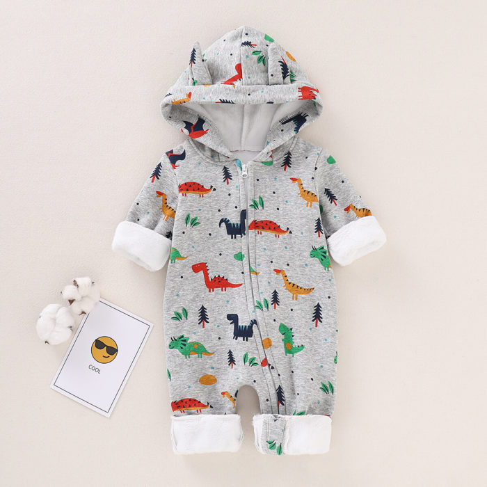 Dinosaur Boys Long Sleeve Romper Jumpsuit For 0-24M