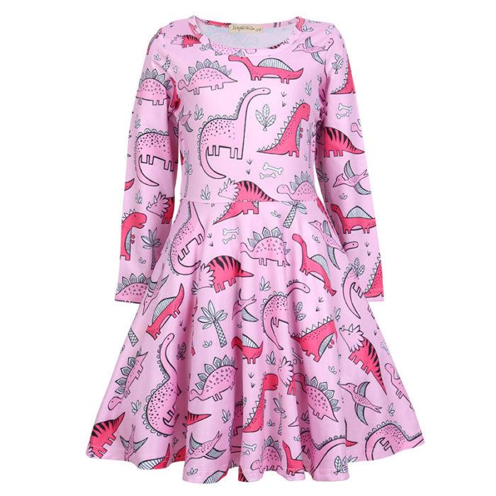 Dinosaur Print Girls Long Sleeve Casual Dress For 4Y-13Y