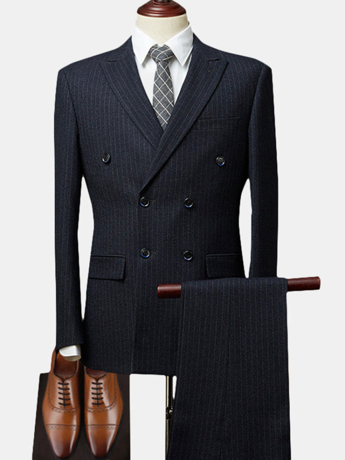 Double Breasted Notch Collar Striped Wedding Business Suit for Men