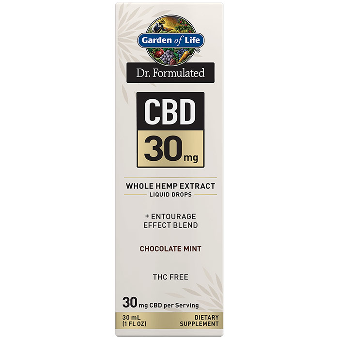 Dr. Formulated CBD 30 mg Whole Hemp Extract Liquid Drops, Chocolate Mint, 30 ml, Garden of Life