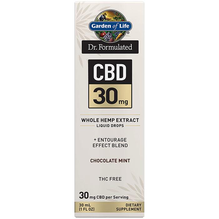 Dr. Formulated CBD 30 mg Whole Hemp Extract Liquid Drops, Chocolate Mint, 30 ml, Garden of Life