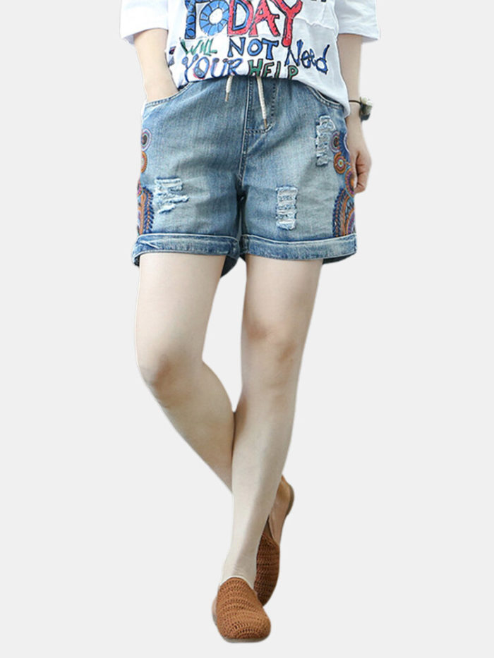 Drawstring Embroidered Ripped Short Jeans For Women