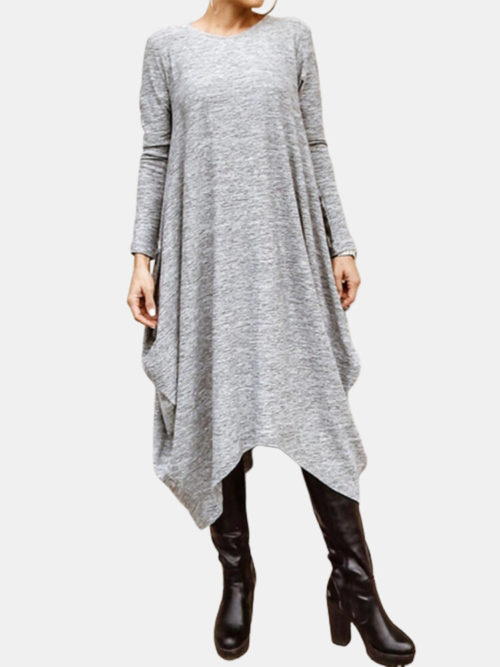 Drop Solid Color Irregular Plus Size Casual Dress