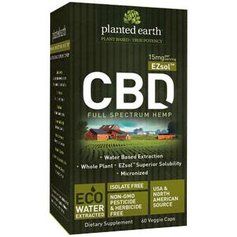 EZsol CBD Hemp 15 mg, Value Size, 60 Veggie Caps, Planted Earth