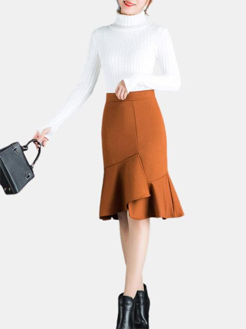 Elastic Waist Stitching Irregular Fishtail Skirt