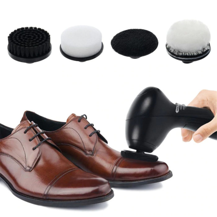 Electric Portable Shoes Polisher Cleaner with 4 Brush Heads Cleaning Brushes