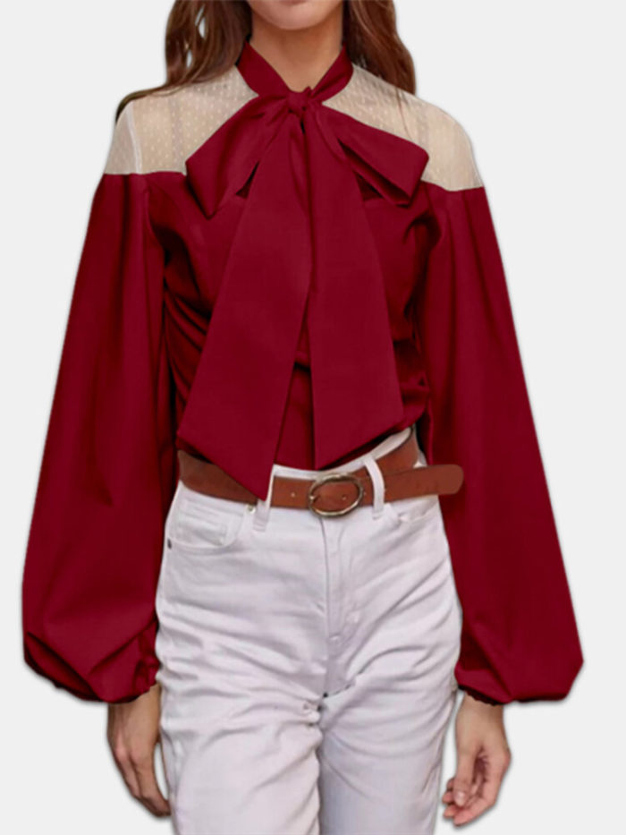 Elegant Knot Lace Lantern Sleeve Plus Size Blouse