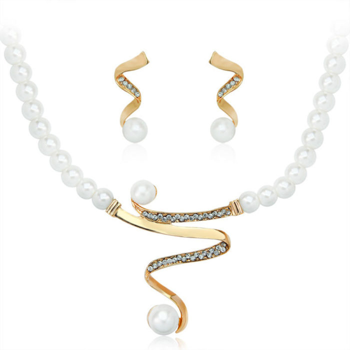 Elegant Pearl Rhinestone Jewelry Set