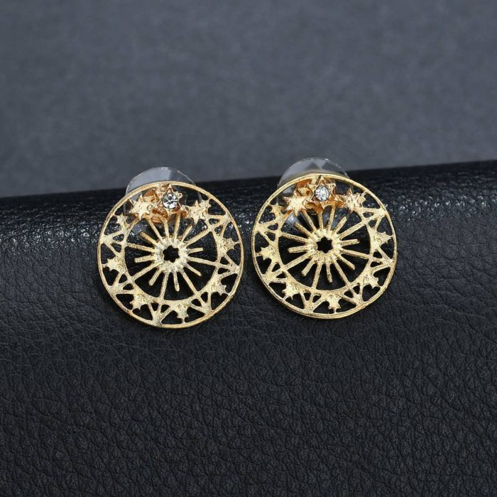 Elegant Round Ear Stud Star Hollow Snowflake Accessories Gold Earrings Gift for Women