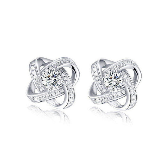Elegant Zircon Geometric Cross Ear Stud Platinum Plated Rhinestones Earrings Gift for Girl Women