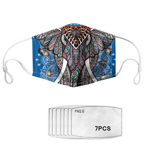 Elephant Pattern Polyester Fashion Dustproof Mask With 7 Mask Gaskets