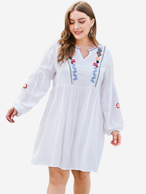 Embroidered V-neck Loose Plus Size Dress