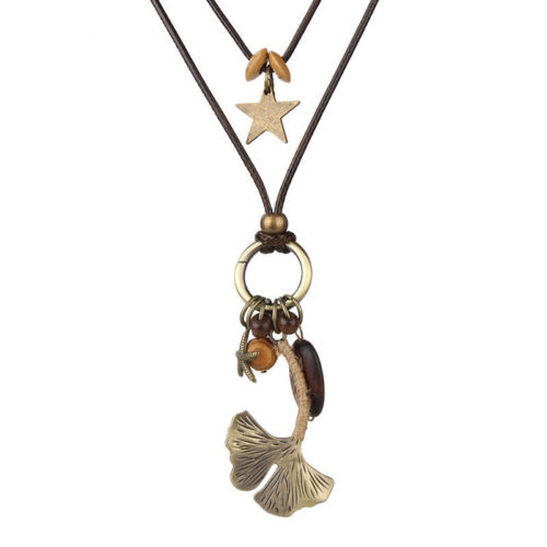 Ethnic Ginkgo Leaf Wood Beads Double Layer Star Pendant Necklace Wax Rope Long Necklaces for Women