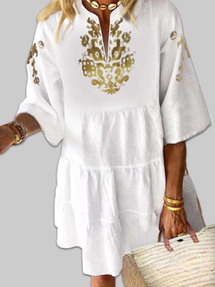 Ethnic Print V-neck Pleated Plus Size Mini Dress