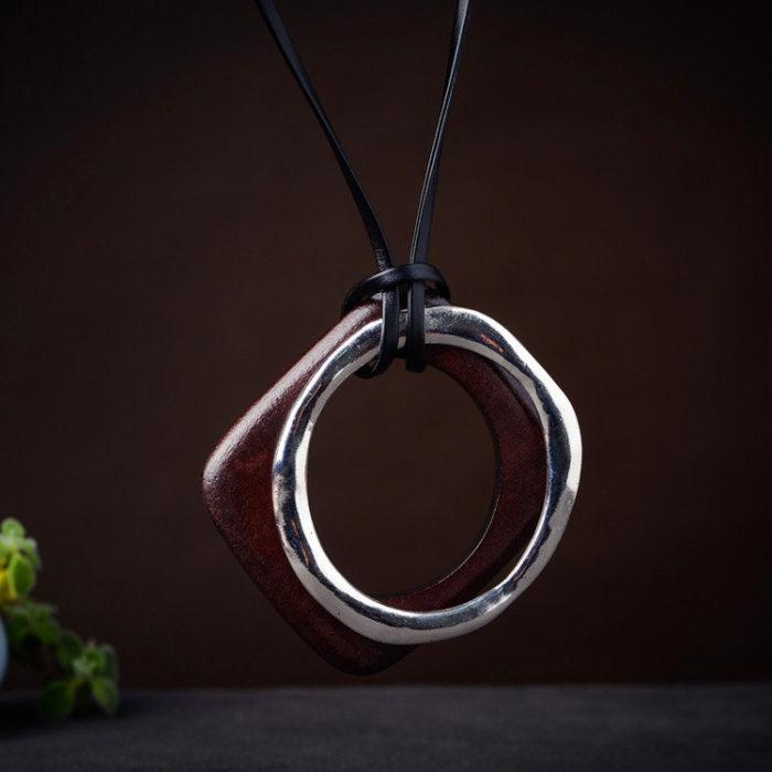Ethnic Statement Geometric Wood Metal Pendant Necklaces Adjustable Retro Leather Necklaces for Women