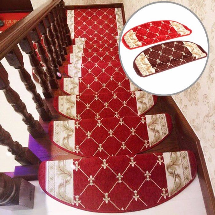 European Style Pastoral Carpet Stair Tread Anti-skid Step Rugs Stair Mats With Magic Paste