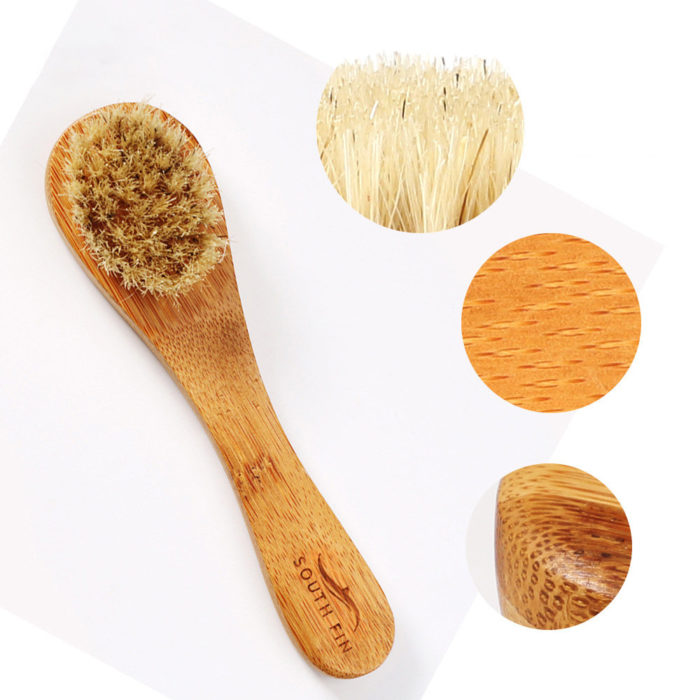 Face Cleaning Brush Long Handle Bamboo Deep Claening Pore Massage Facial Brush Face Care Tool