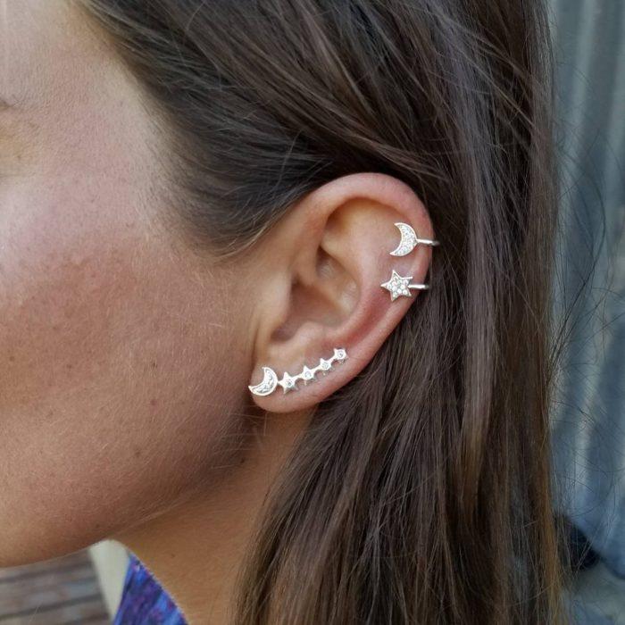 Fashion 3 Pcs Earrings Silver Gold Ear Clip Moon Star Ear Stud Rhinestones Earrings for Women