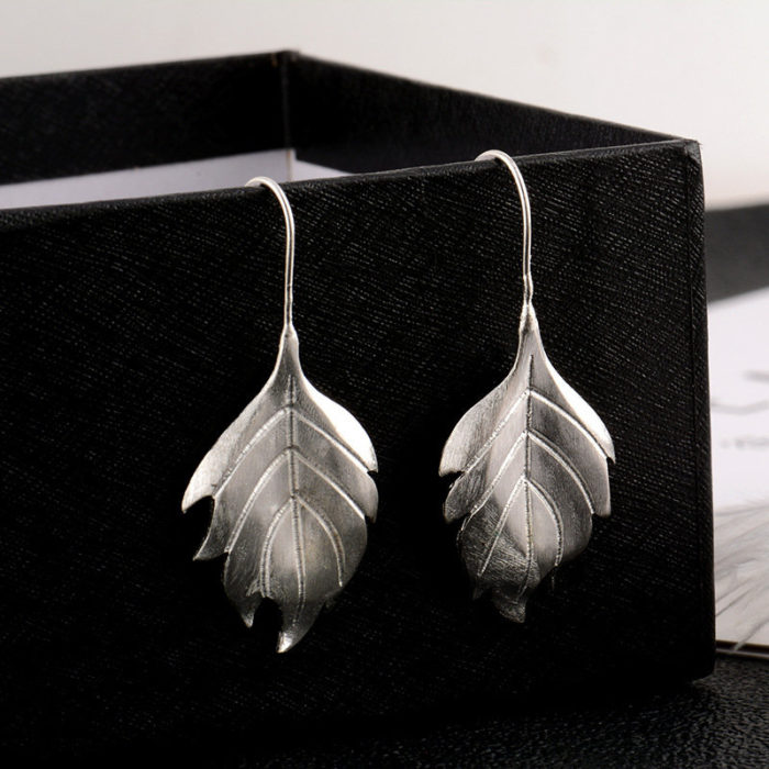 Fashion 925 Sterling Silver Earrings Simple Big Leaf Dangle Earrings Gift for Women