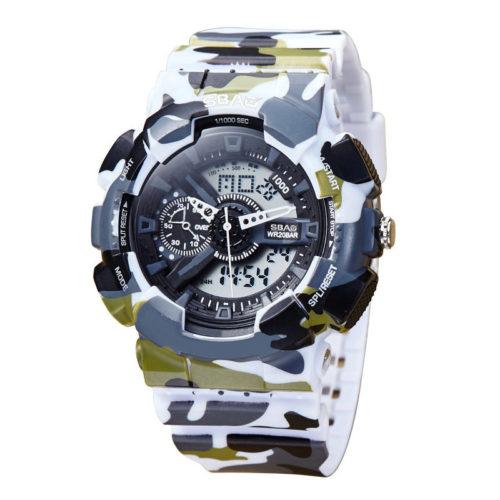 Fashion Digital Quartz Dual Display Watches Silicone Strap Week Calendar Wrist Watches for Men