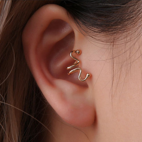 Fashion Ear Clip Earrings Snake Bone Animal Matchstick Ear Cuff Earrings Ethnic Jewelry for Women