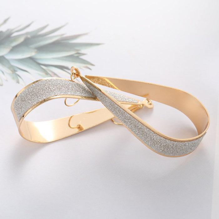 Fashion Ear Drop Earrings Dull Polish Hollow Water Drop Gold Earrings Sweet Jewelry for Women