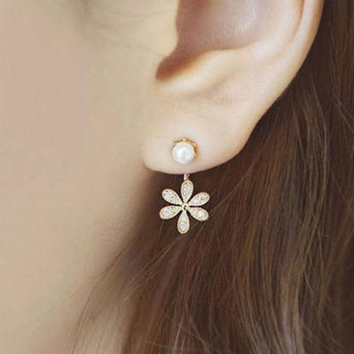 Fashion Ear Drop Earrings Flower Charm Flash Rhinestone Pearls Earrings Elegant Jewelry for Women