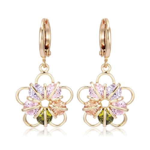 Fashion Ear Drop Earrings Gold Plated Colorful Ziron Flower Charm Earrings Elegant Jewelry for Women