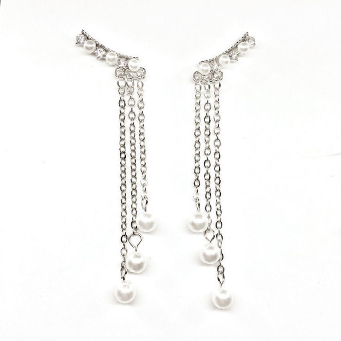 Fashion Ear Drop Earrings Long Chain Tassels Imitation Pearls Earrings Elegant Jewelry for Women