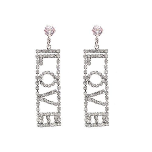 Fashion Ear Drop Earrings S925 Sterling Silver Hollow Geometric Letter Zircon Charm Dangle for Women