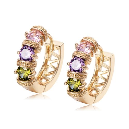 Fashion Ear Stud Earrings Gold Plated Colorful Ziron Hollow Earrings Elegant Jewelry for Women