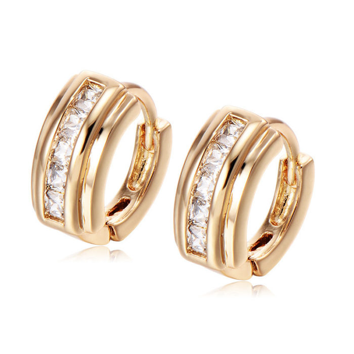 Fashion Ear Stud Earrings Gold Plated White Ziron Geometric Earrings Elegant Jewelry for Women