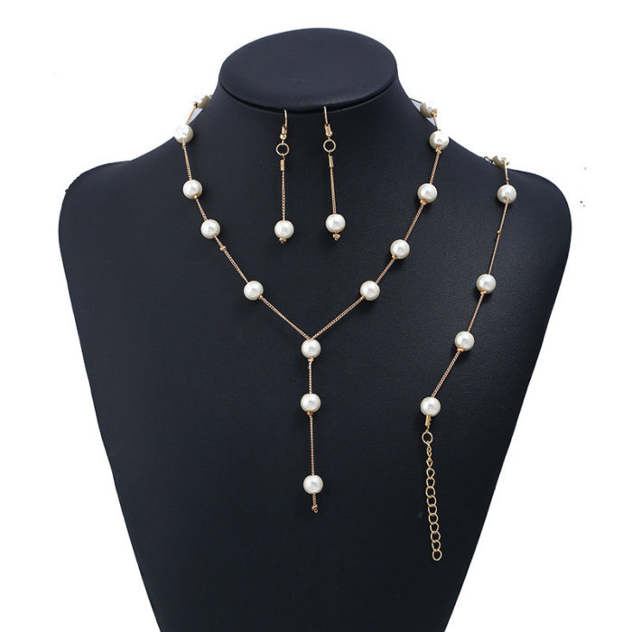 Fashion Gold Jewelry Set Venetian Pearls Chain Pendant Necklace Earrings Bracelet Jewelry for Women
