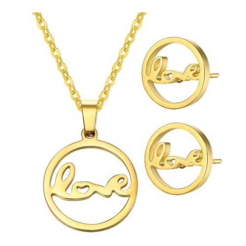 Fashion Jewelry Sets Gold Plated Hollow Round Letters Earrings Charm Necklace Jewelry for Women