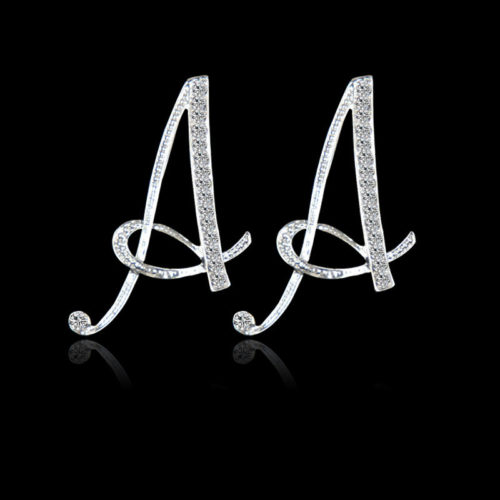 Fashion Letter Ear Studs Silver Earrings Shiny Rhinestones Special Initial Earring Gift for Her