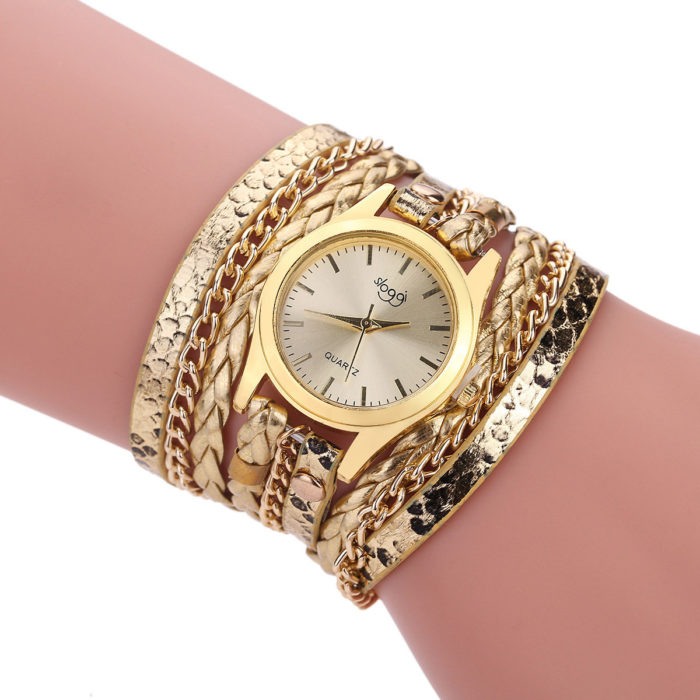 Fashion Multi-color Women's Casual Bracelet Watch Luxury Multilayer Leather Bracelet Watch