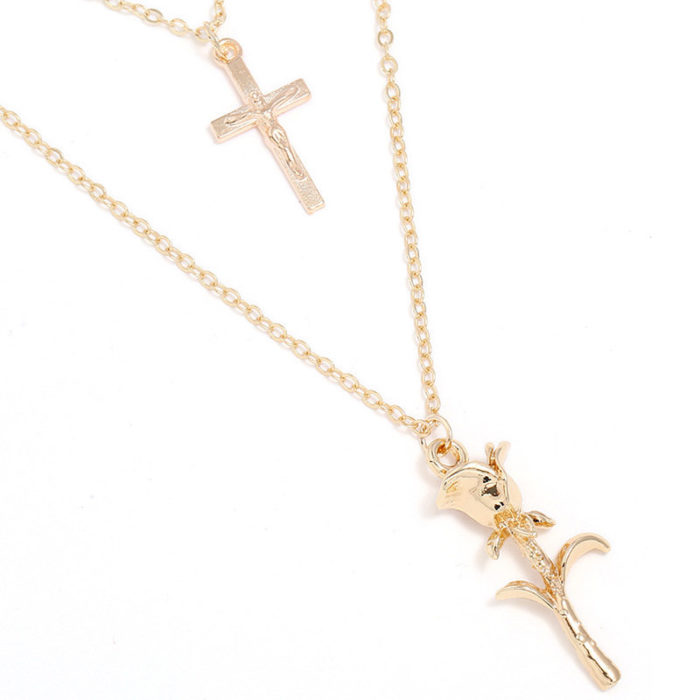 Fashion Multilayer Necklace Cross Rose Pendant Chain Charm Necklace Ethnic Jewelry for Women