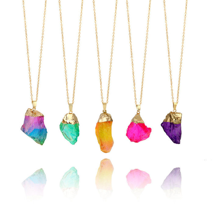 Fashion Natural Stone Druzy Necklace Rainbow Irregular Pendant Necklace Sweater Chain for Women Men