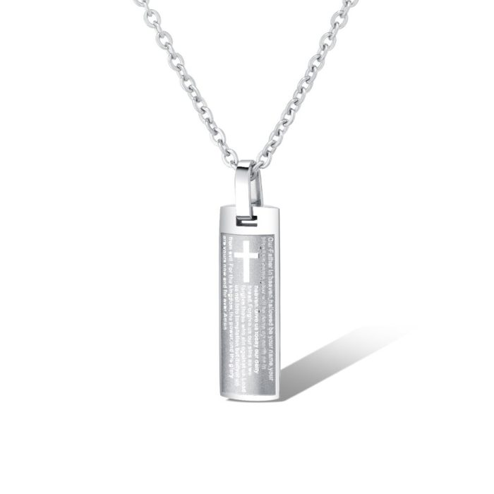 Fashion Pendant Necklace Rectangle Cross Lettering Charm Chain Necklace Classic Jewelry for Men