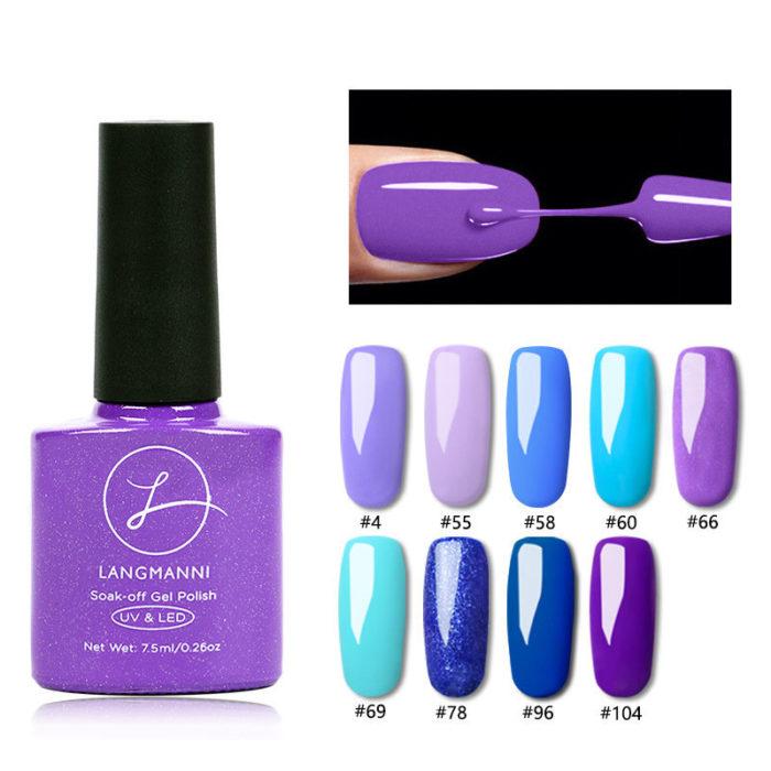 Fashion Purple Nail Gel Polish Long-Lasting Nail Gel Varnish Base Top UV Gel Colorful DIY Nail Art