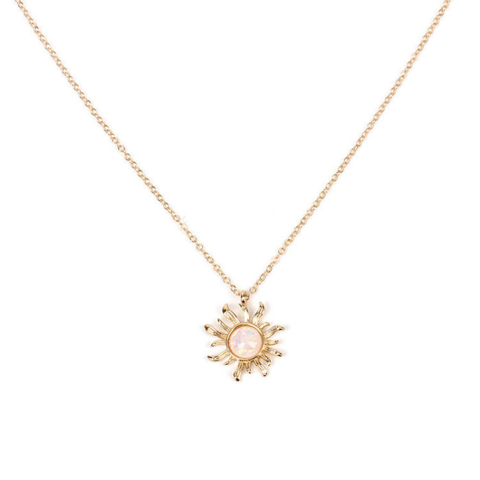 Fashion Silver Gold Sun Flower Pendant Necklaces Opal Chain Statement Necklaces for Women