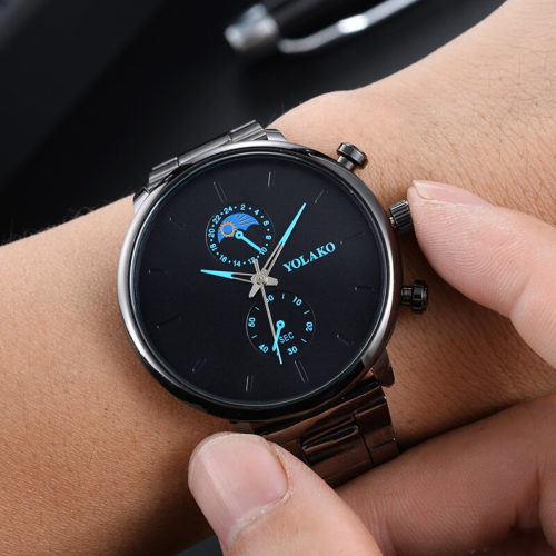Fashion Sport Men Watches Full Alloy Case Band Sun Painting Dial Chronograph Quartz Watch
