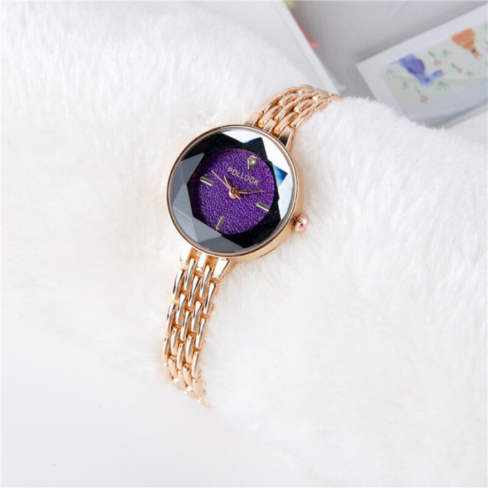 Fashion Womens Watches Trendy Rose Gold Thin Strap Colorful Dial Quartz Minimalist Watches for Women