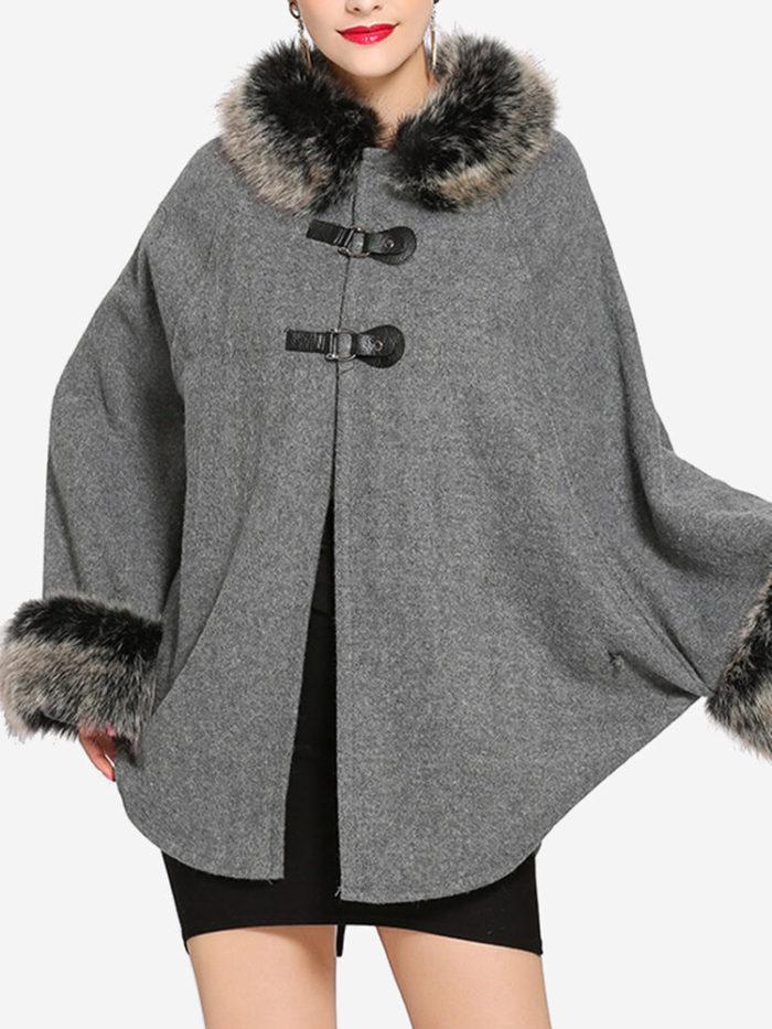 Faux Fur Bat-wing Two-tone Poncho Coats