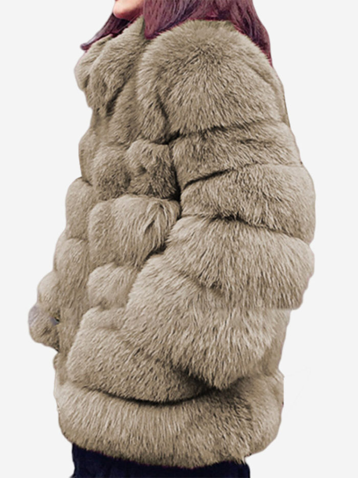 Faux Fur Solid Color Long Sleeve Stand Collar Coat For Women