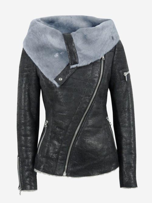 Faux Leather Fleece Turn Down Collar Coat