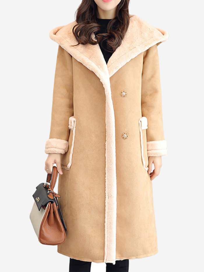 Faux Suede Pockets Hooded Chunky Winter Coat