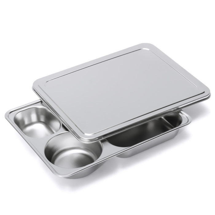 Five-grid Stainless Steel Lunch Box with Cover Kitchen Bento Picnic School