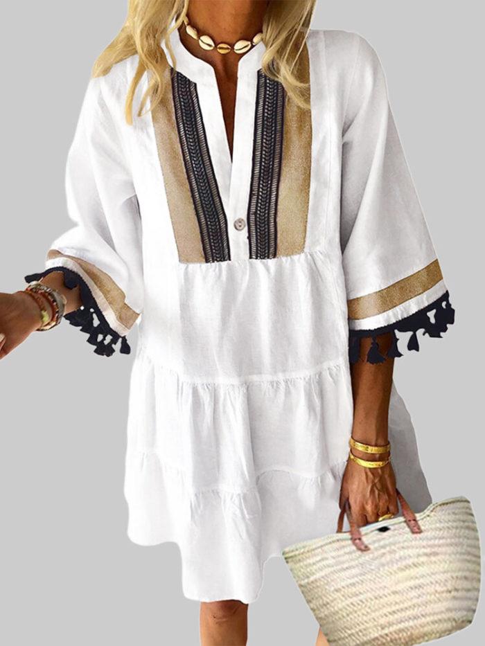 Flare Sleeve Loose Ethnic Casual Tassels Mini Pullover Dress